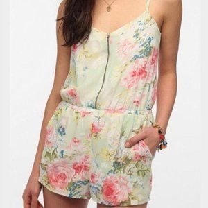 Lucca Couture White Pink Floral Zipper Romper S